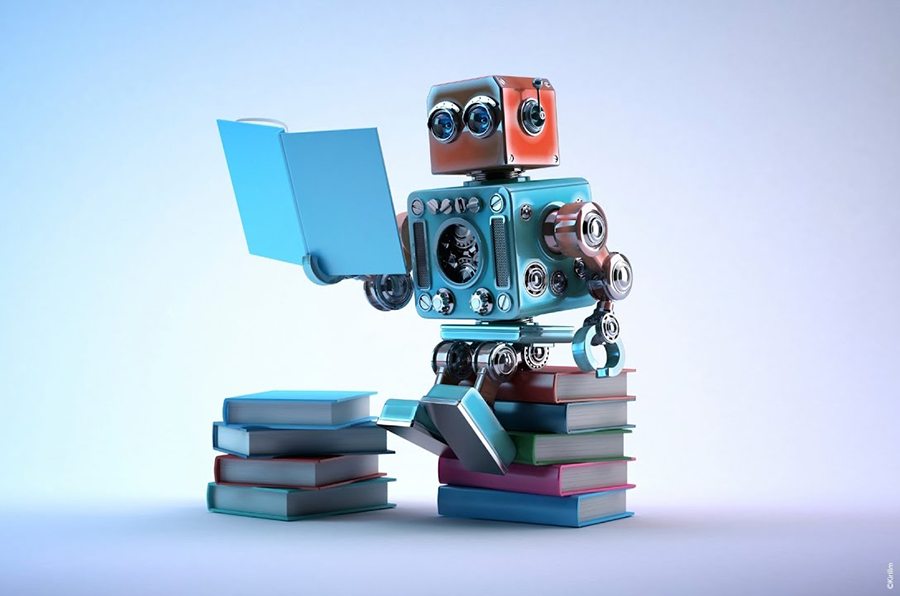 Robot Reading - AI and Machine Learning Fun Graphic